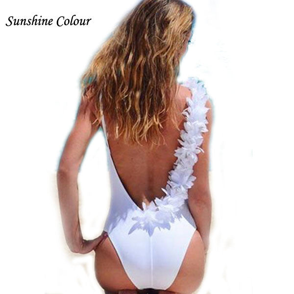 2017 Cotton Sexy Jumpsuit Romper Flowers Blackless Swimsuit Summer