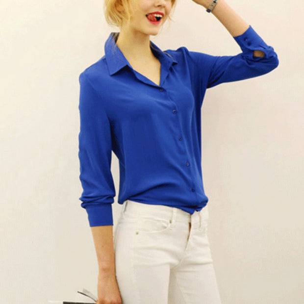 Summer Fashion Girl Chiffon Blouse Casual Long Sleeve Shirt Women