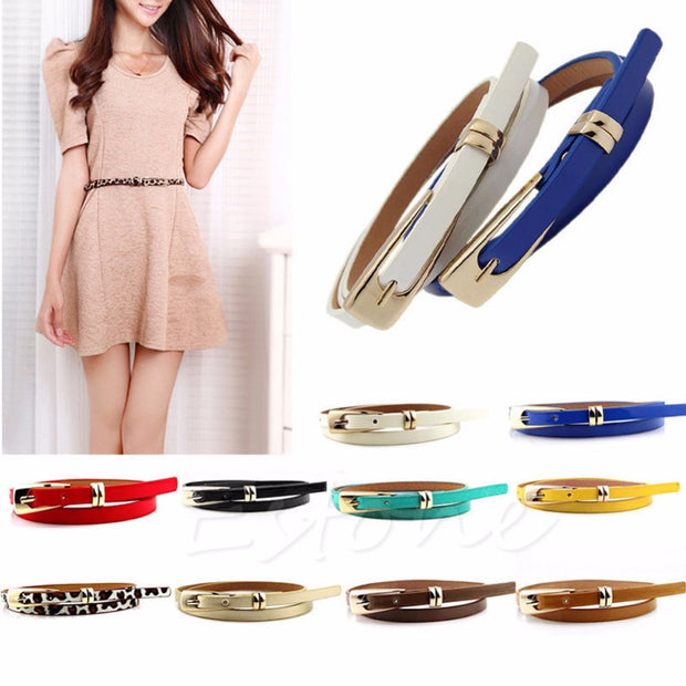 Fashion Women Lady Girl Skinny Waist Belt Thin Leather Narrow