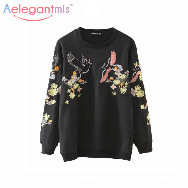 2017 Autumn Casual Floral Embroidery Sweatshirts Women Long Sleeve