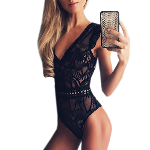 Cut Out Sexy Lace Bodysuit Rompers Women Jumpsuit Sleeveless Beach Summer Bodysuits White Black Mesh Body Top Overalls GV682
