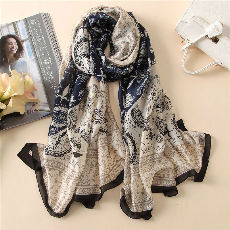 2017 Fashion Women 100% Pure Silk Scarf Female Luxury Brand Print