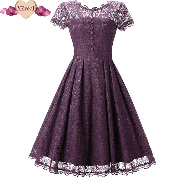 Rockabilly Lace Swing Dress Summer Women Vintage Dresses Female