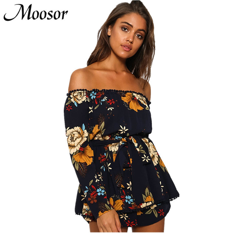 2017 Bohemian Sexy Strapless Rompers Womens Jumpsuit Casual