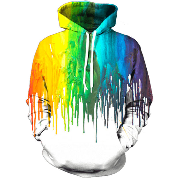 3D Rainbow Hoodie Men Women New Fashion Drips Sweatshirts Funny Oil