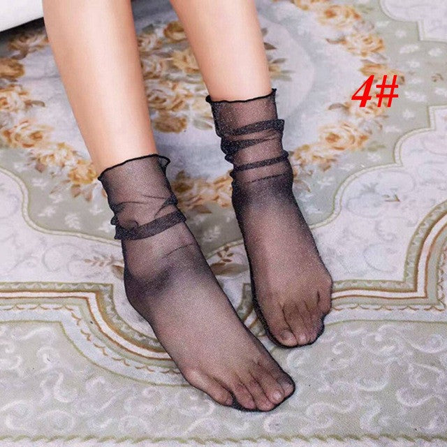 1Pair New 2017 Fashion Spring Summer Women Lady Sexy Silk Heap heap