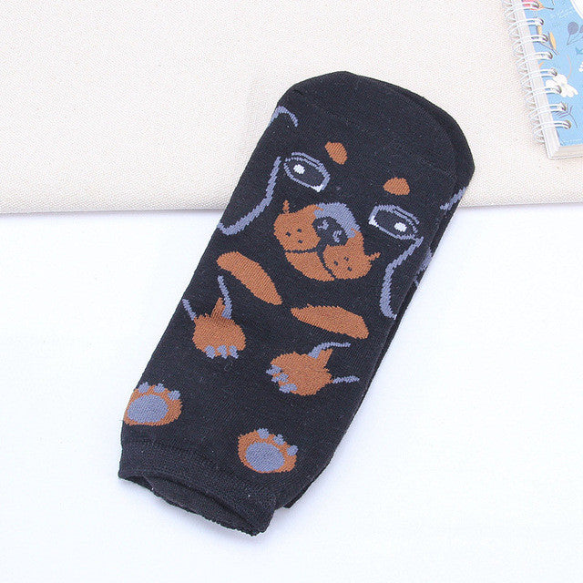 10pairs Funny Women 3D Pug Pet Dog Ankle Socks Kawaii Female Dachshund