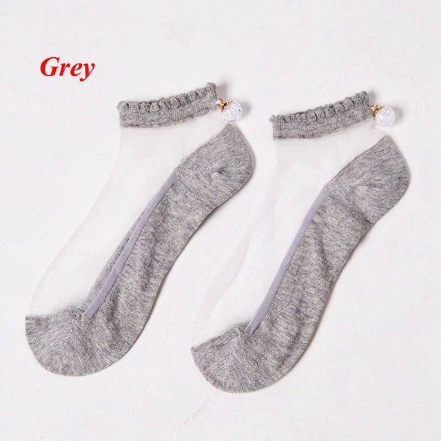 1Pair Fashion Women Transparent Ultrathin Short Socks Casual Crystal