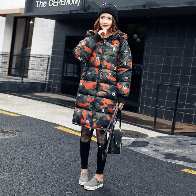 2017 fashion women winter hooded coat oversize Camouflage cotton