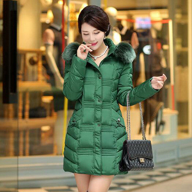1PC Winter Jacket Women Fur Hood Parka Cotton Padded Coat Jaqueta