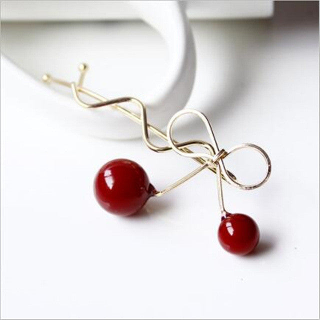 1PC Women Lady Girls Lovely Korean Red Cherry Shaped Bowknot Hairpin