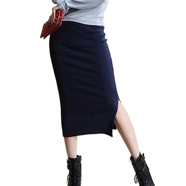 2017 autumn skirts Sexy Chic Pencil Skirts Women Skirt Wool Rib Knit