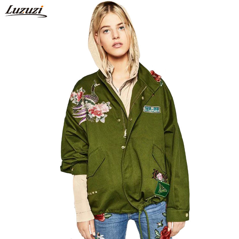 1PC Bomber Jacket Women Peacock Flower Patch Embroidered Coat Women