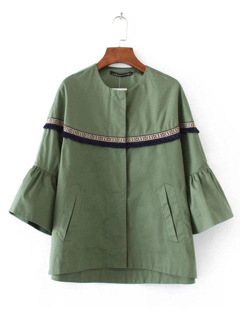 2017 Bohemia Embroidery Ruffles Bomber Jacket Women Army Green Coats
