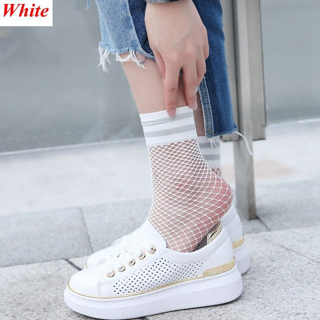 1 Pair Fashion Girls Fishnet Ankle Socks meias mulher Soft Mesh Net
