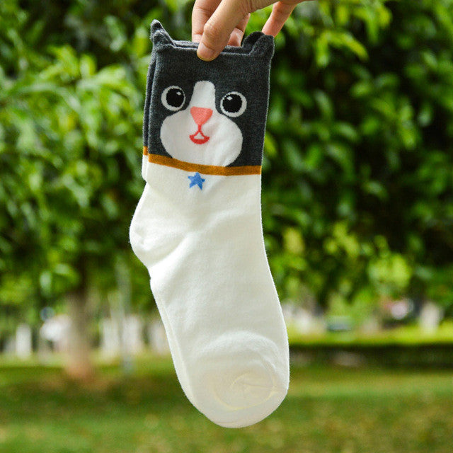 1 pair cartoon animal socks women cotton tube ankle socks cat dog warm