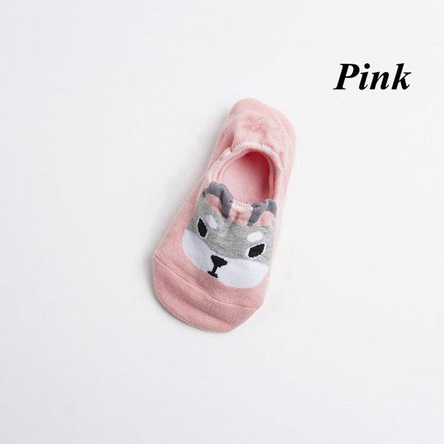 1Pair Fashion Breathable Women Cute Dog Ankle Socks Low Cut Crew