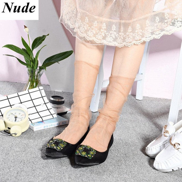 1Pair Fashion Sexy Women Lady Girls Chiffon Ankle High Mesh Lace