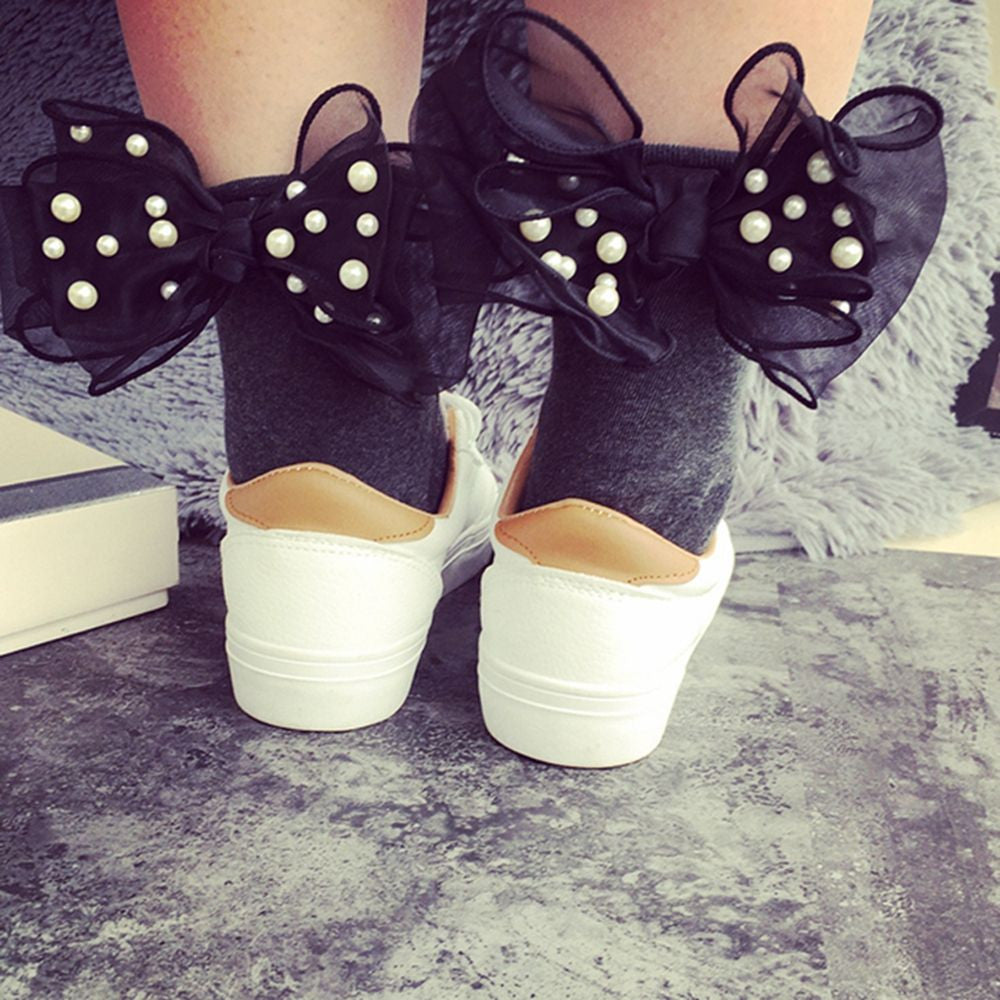 1 Pair Fashion Spring Summer Sexy Women Cute Big Pearl Lace Bowknot