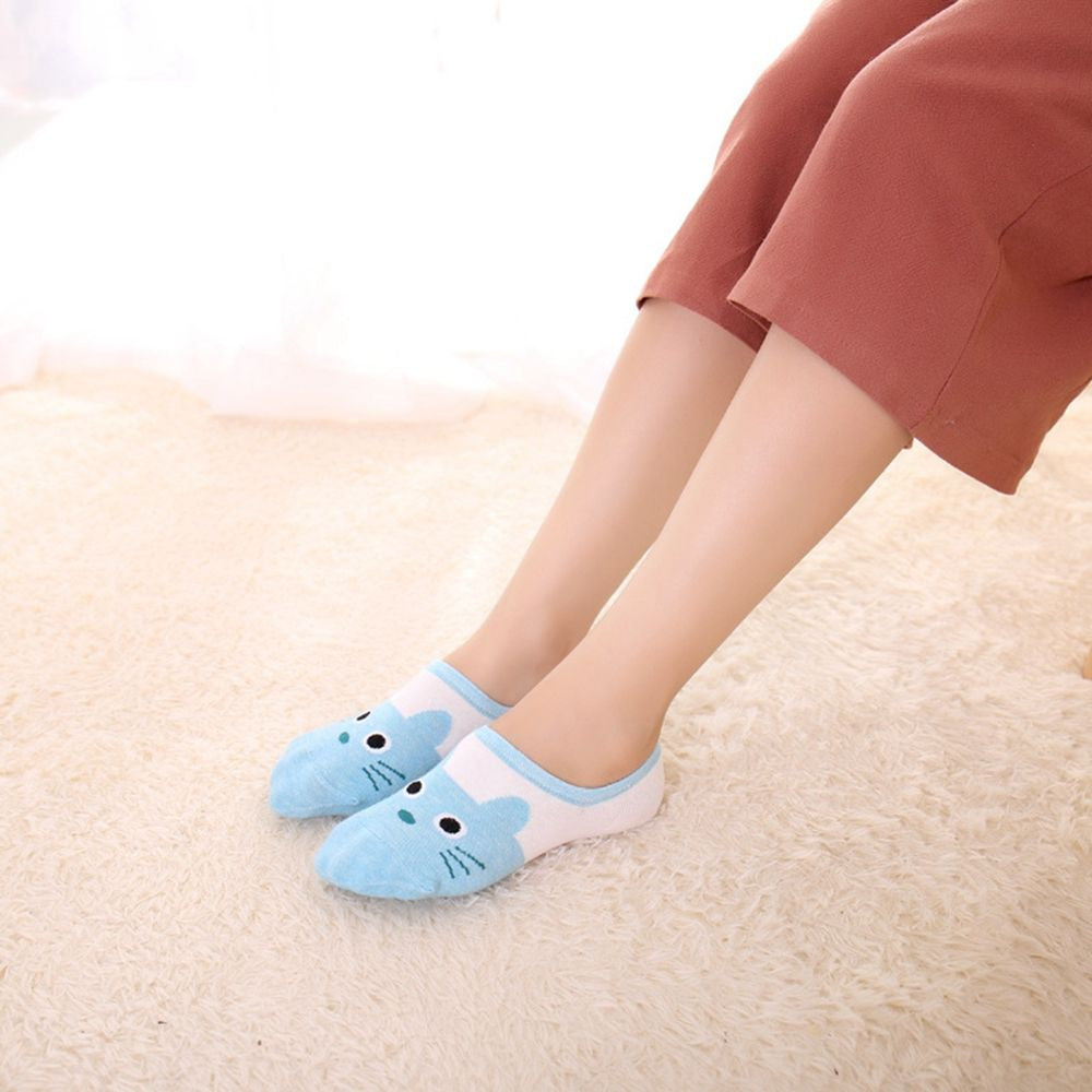 1Pair Fashion Lady Cotton Boat Socks Cute Cat Face Low Cut Non-slip
