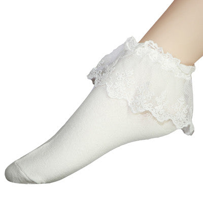 1Pair Cute Fashion Women Socks Short Vintage Lace Ruffle Frilly
