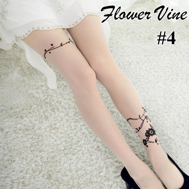 1 Pair New Women's Fashion Sexy Cute Transparent Tattoo Patterns Sheer