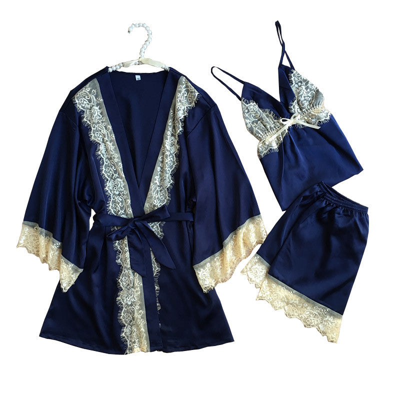 1937 Luxurious Women Robe Pajama Sets 2017 Faux Silk Ladies 3 Pcs Lace