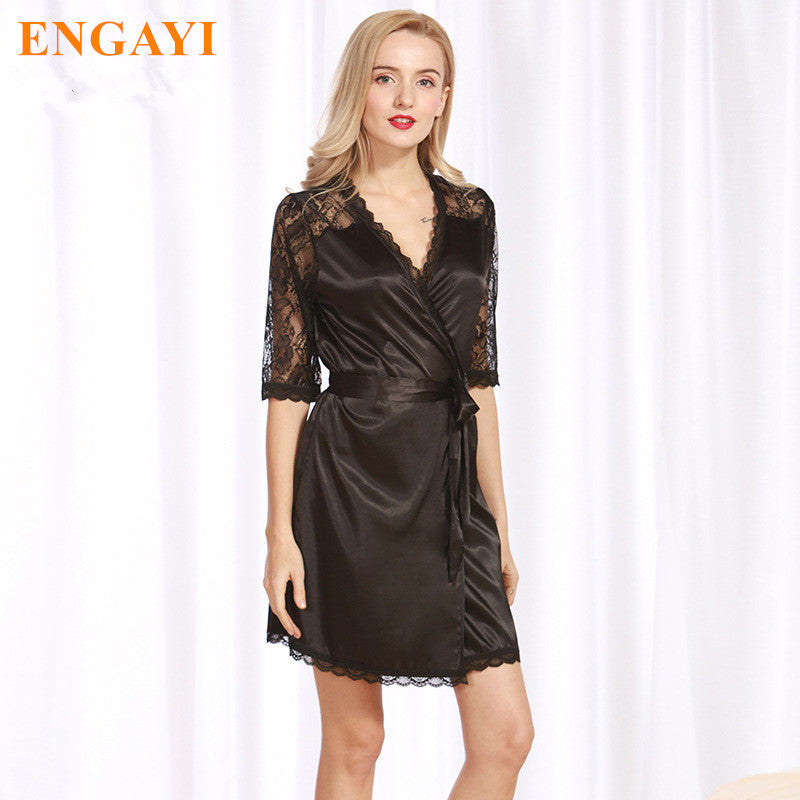 2017 Fashion Women Nightgown Night Dress Plus Size Nightgown Silk