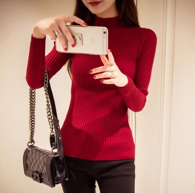 2017 Autumn Winter Fashion Women sweaters high elastic sexy slim