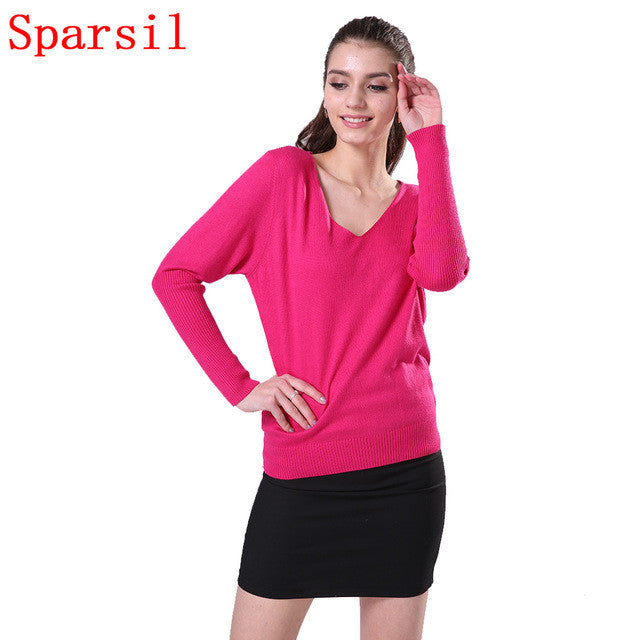 11.11 Sparsil Women's Autumn Long Sleeve Cashmere Blend Pullover