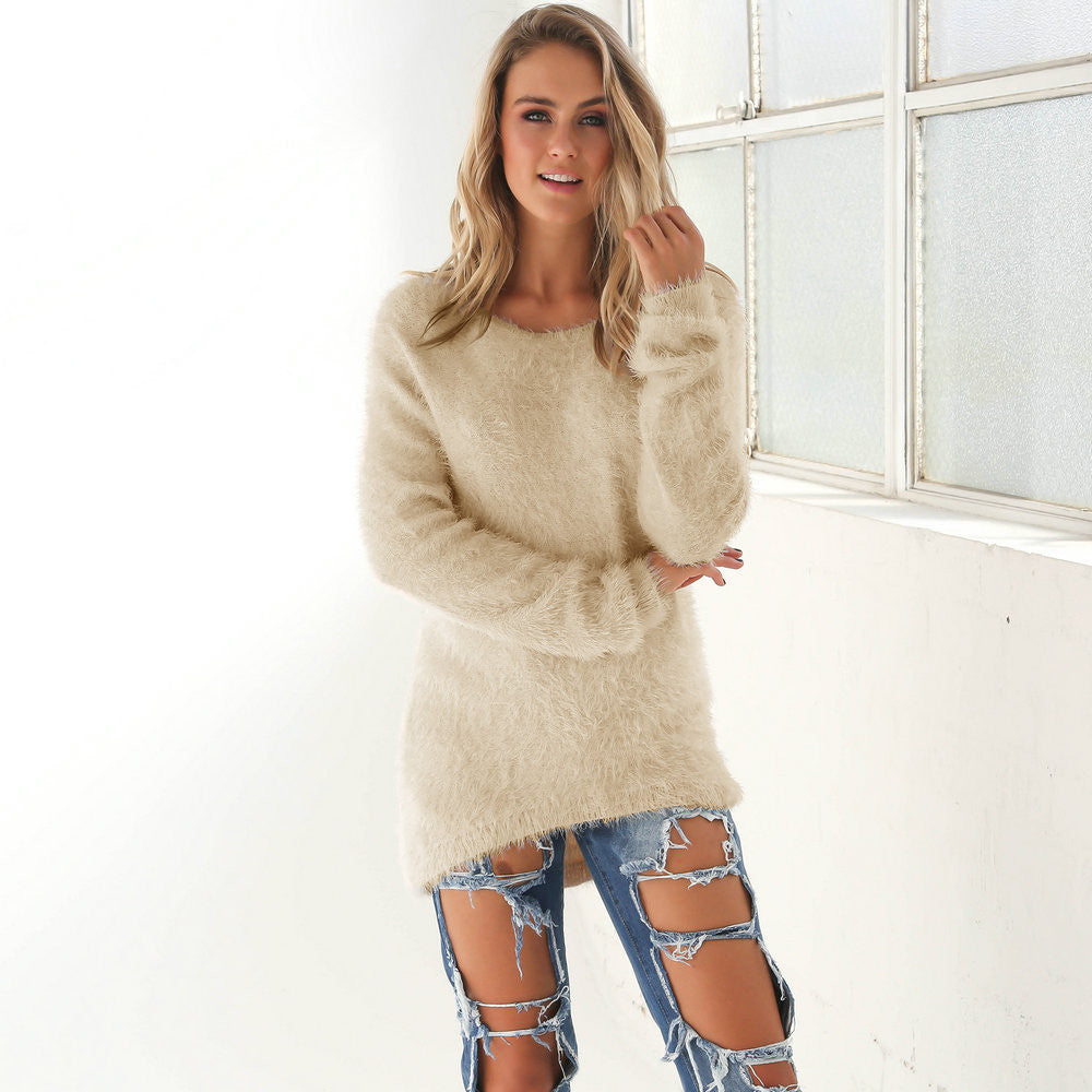 10 Color HOT SELL! women solid loose long knitted sweater 2016