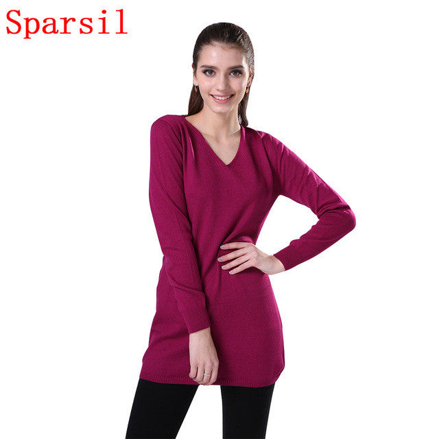11.11 Sparsil Women Winter Cashmere Blend Knitted Pullover Autumn