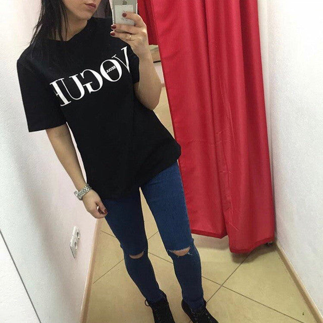 2017 Free Shipping summer new letter print short sleeve round neck T