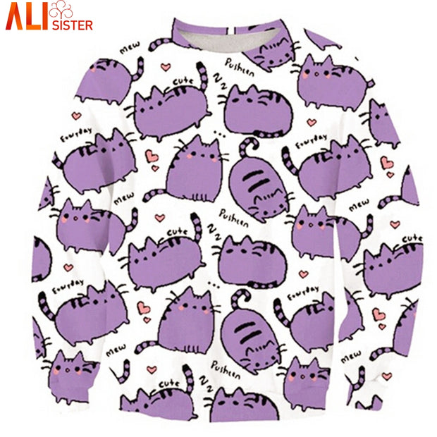 Alisister Cartoon Pusheen Cat Sweatshirt Printed Long Sleeve Shirts 3d
