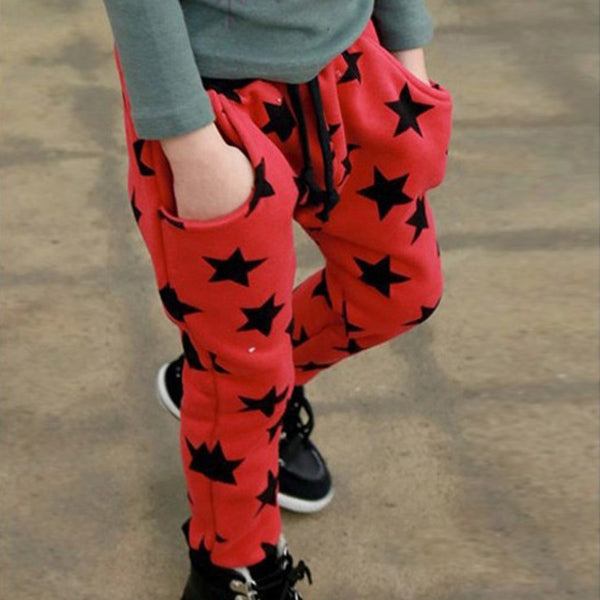 Fashion Toddler Boys Cotton Long Pants Stars Pattern Trousers Casual