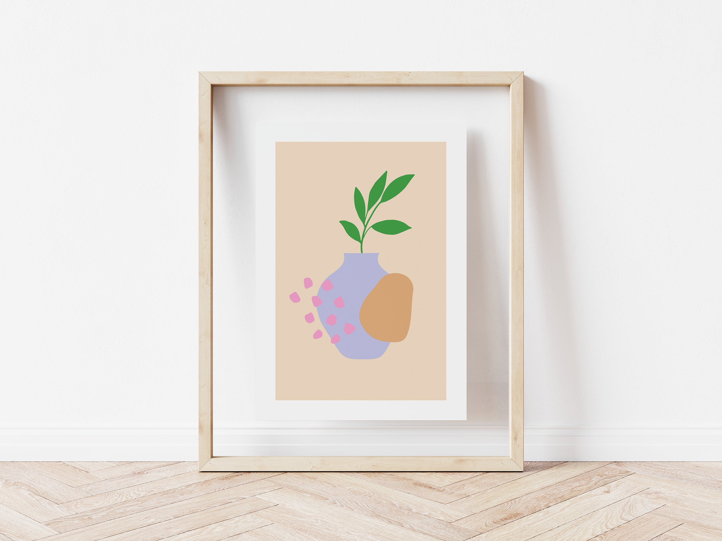Lilac Plant Pot with Abstract Shapes
