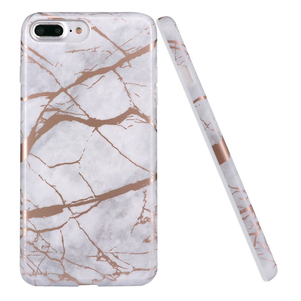 Coque iPhone Marbre Blanc Motif Or Rose