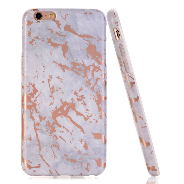 Coque iPhone Marbre Blanc & Or Rose