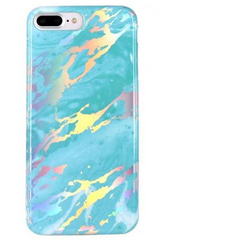 Coque iPhone Marbre Holo Turquoise