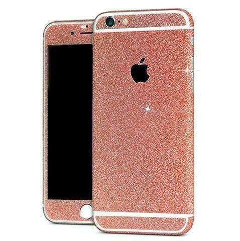 Skin iPhone Paillettes Brillantes Or Rose