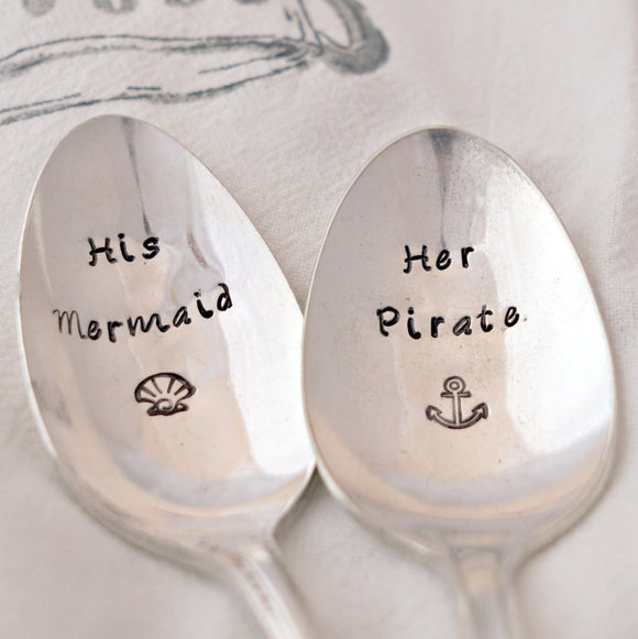 His Mermaid, Her Pirate | Stamped Spoon Set