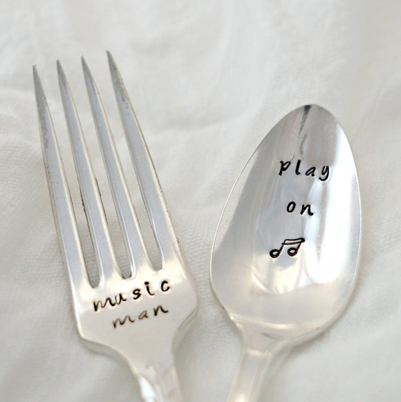 music man. play on | Stamped Fork and Spoon Set