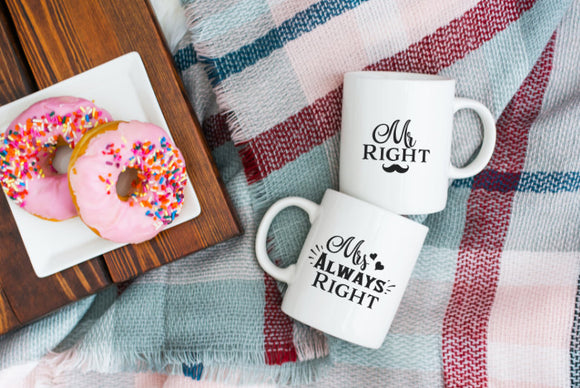Mr Right Mrs Always Right Mug Set | Coffee Mug | Couples Mugs