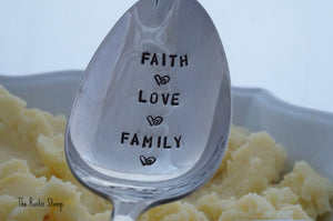 Faith Love Family | Stamped Serving Spoon