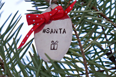 #Santa | Stamped Spoon Ornament