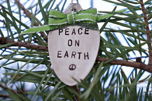 Peace on Earth with a Peace Sign | Stamped Spoon Ornament