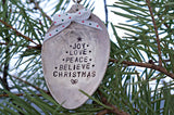 Tree of Words, Joy, Love, Peace, Believe, Christmas, | Stamped Spoon Ornament