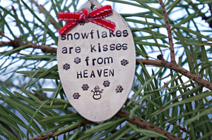 Snowflakes are Kisses from Heaven with Snowman | Stamped Spoon Ornament