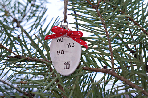 Ho Ho Ho With a Present | Stamped Spoon Ornament
