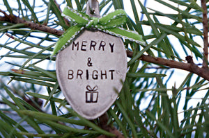 Merry & Bright with a Present | Stamped Spoon Ornament